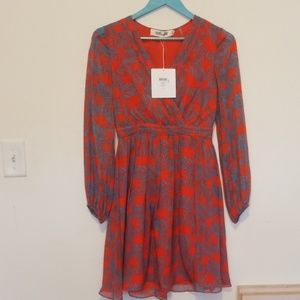 DVF Celia Silk Dress Arver in Arcadia Vermillion